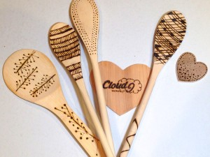 Wood Burned Spoons Made at Cloud 9 Workshop