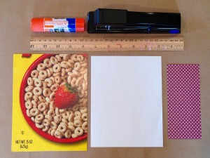 C9W Cereal Box Journal Supplies Needed