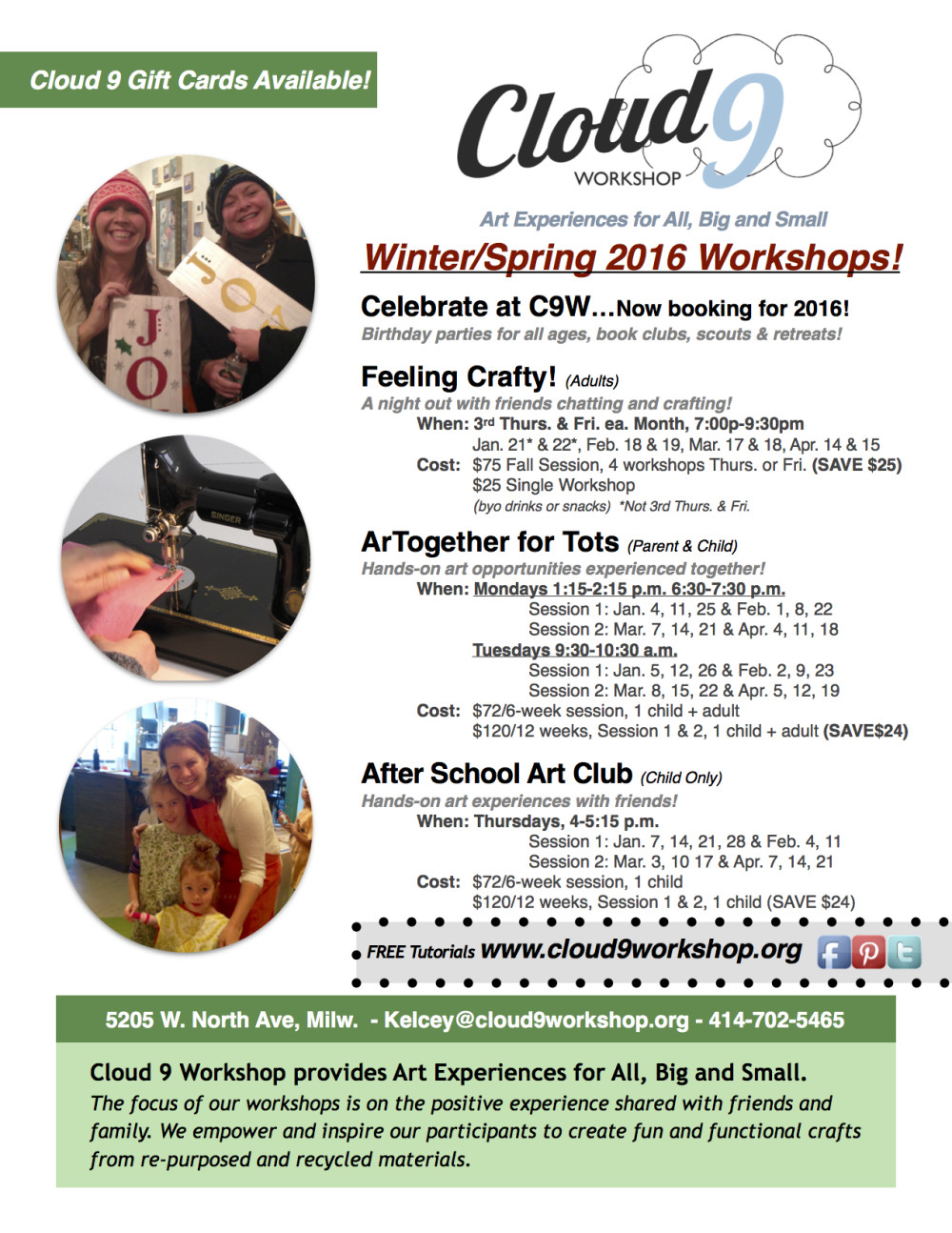 NEW! Winter/Spring 2016 Workshop Schedule