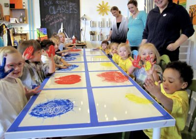 Table Top Finger Painting at Cloud 9 Workshop