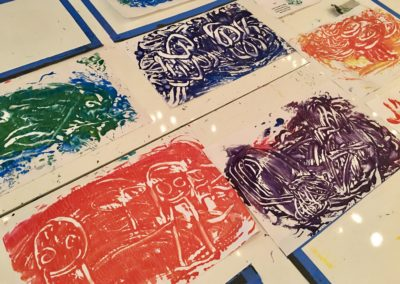 Mono-prints made with Finger Paints